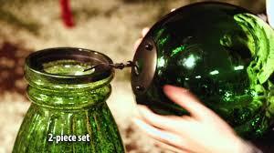 solar glass gazing ball with pedestal from evergreen garden