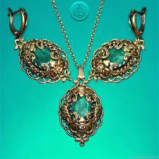 jewelry sets handmade livemaster handmade jewelry set earrings and pendant with indian