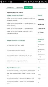 Pokemongohub.net Team Valor Appraisal Chart | Pokemon go appraisal, Pokemon  go, Pokemon
