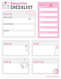 babysitter information sheet printable free printables diary of a first time mom