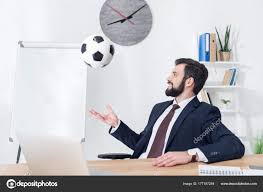 Businessman Suit Throwing Soccer Ball Workplace Office Stock Photo
