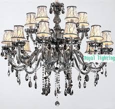 chandeliers smoke crystal chandelier villa primitive black glass led lighting large for living room orb