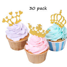 Gold Crown Cupcake Toppers 30pcs Glitter Prince And Princess Cake