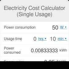Electricity Cost Calculator Single Usage Omni