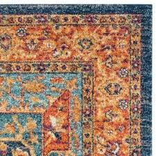 evoke blue orange area rug and burnt