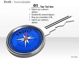 Stock Photo Blue Compass Key Of Profit Powerpoint Slide Powerpoint