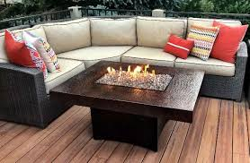 Oriflamme Rectangle Gas Fire Pit Table Hammered Copper