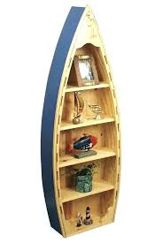 boat book shelf angled view wooden