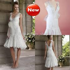 2013 Lace White Simple Short Garden Wedding Dresses Knee Length