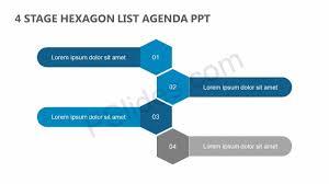 Agenda List 4 Stage Hexagon List Agenda Ppt Pslides
