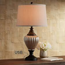 Howard Metal And Glass Table Lamp With Usb Port Amazoncom