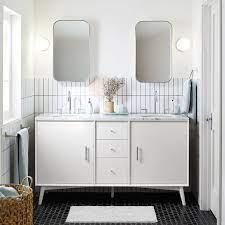 Mid Century Double Bathroom Vanity 63 White