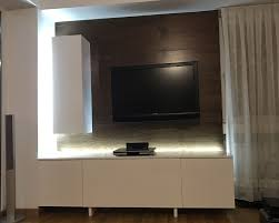 Led Wooden Wall Design Wooden Tv Wall With Background Led Lights Tv Feature Wall