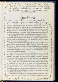j k rowling s personal copy of the first harry potter book  on the chapter entitled quidditch rowling s notes explain the sport s origins