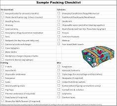 Sample Travel Packing List Travel Tips