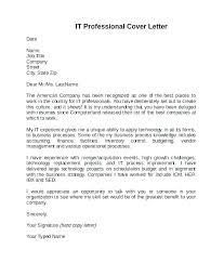 Cover Letters For It Professionals A Professional Cover Letter Examples Of A Professional Cover Letter