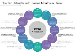Circle Calendar Template Circular Calendar With Twelve Months In Circle Powerpoint