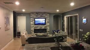 living room with electric fireplace and tv. How To Build An Electric Fireplace TV Combo Stone Wall Living Room With And Tv H