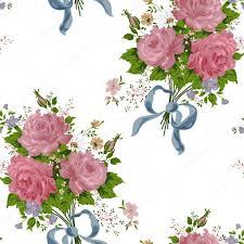 Behang Vintage Roos Patroon Op Witte Achtergrond Stockvector