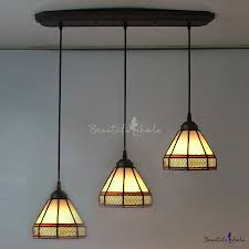 long base geometric pattern 24 inch three light hanging pendant lighting in stained glass style beautifulhalo com