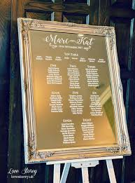 Vinyl Seating Chart Mirror Wedding Table Plan With Modern Calligraphy Fonts