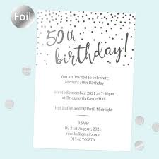 Birthday Invatations Foil 50th Birthday Invitations Sparkly Typography