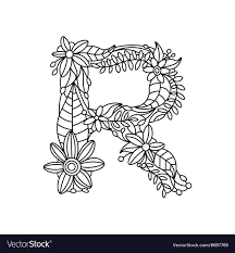 letter r coloring book for s vector image
