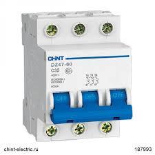 <b>Автоматический выключатель</b> DZ47-60 3Р <b>20А</b> 4.5кА х-ка D (CHINT)