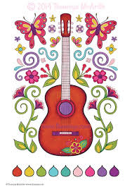 fun and funky coloring book guitar by thaneeya