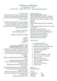 Financial Resume Examples Simple Resume Financial Advisor Resume Example Economiavanzada