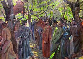 Zacchaeus in a tree being called by Jesus.