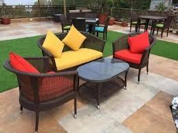 outdoor wicker patio conversation set