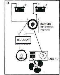 marine battery systems part 2 two different size batteries can be used larger for ship services smaller for engine starting switch selects usage master disconnect power parallel