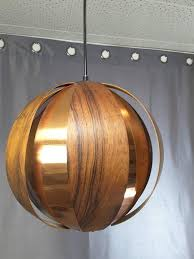 rosewood and copper ball pendant light by verner schou for coronell elecktro danish