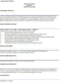 Swimming Teacher Cv Example - Lettercv.com