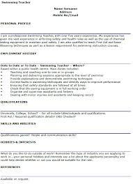 swim instructor resume