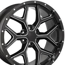 All Chevy chevy 22 inch rims : CV98 22-inch milled edge black deep dish wheels fit Chevy Silverado