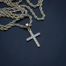 details about iced out mini gold lab diamond cross pendant necklace