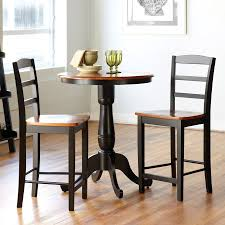 international concepts cherry black 3 piece dining set with round dining table