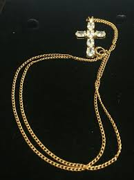 sparkling 9ct yellow gold cross 44cm 17 25inch chain pendant noikqa6187 gemstone