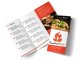 2 Folded Brochure Template Restaurant To Go Menu Tri Fold Brochure Template