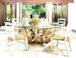 tree trunk table base dining stump and chairs glass top with uk