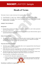 Party Proposal Template New Heads Of Terms Sample Heads Of Agreement Template