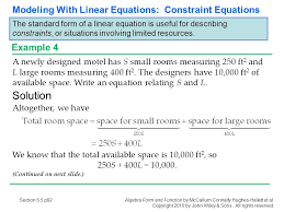 solution modeling with linear equations constraint 5 1 linear functions section p1 ppt
