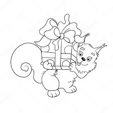 Coloring Page Outline Of Red Squirrel With A Big Gift Stock Vector