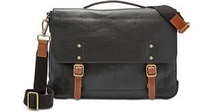 fossil men s defender leather portfolio briefcase in black for men save 25 lyst