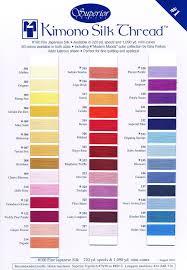 Superior Kimono Silk Thread Colour Card 1 Quilting Thread