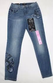 Nine West Gramercy Floral Embroidered Skinny Jeans Color Revival Variety Size Ebay