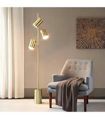 pendant floor lamp cantilever drop gold metal 3 silver lining shade glam