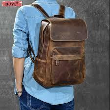BJYL Genuine leather <b>Men</b> Backpacks Retro <b>Crazy Horse</b> Leather ...